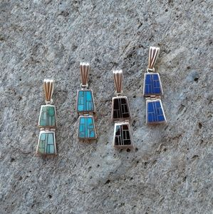 Sterling silver set of 4 inlaid PENDANTS